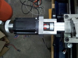 08 03 14 CNC lathe x axis mount with plum coupling